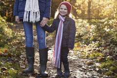 Mother And Daughter Holding Hands On Autumn Walk Royalty Free Stock Photo