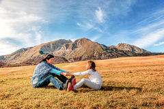 Mother and daughter holding hands  in Durmitor, Montenegro Royalty Free Stock Images