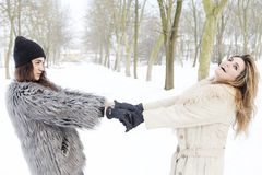 Mother and daughter holding hands in the snow Royalty Free Stock Image