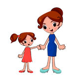 Mother and daughter holding hands on a walk stock illustration
