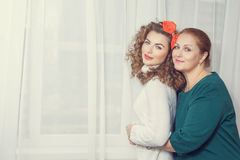 Mother, daughter home comfort. Toning. Royalty Free Stock Images