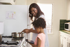 Mother And Daughter At Home Preparing Meal In Kitchen Stock Photography
