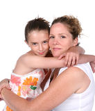 Mother and daughter hug. Ging each other royalty free stock photo