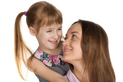 Mother and daughter hug each other. happy family. Mother and daughter hug each other. Mother`s Day Celebration royalty free stock image