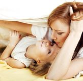 Mother with daughter hugging close up, happy Royalty Free Stock Photography