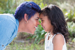 Mother and daughter. Interaction stock photo