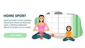 Mother and Daughter Involved Sport Engaged in Yoga. Banner Image Character Woman and Child Engaged Home Sport Yoga. Smiling Girl are Sitting Lotus Pose against vector illustration