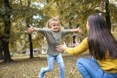 Mother and daughter ion meadow. Little girl running to her mother in embracing Royalty Free Stock Images