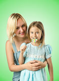 The mother with daughter isolated on white Stock Photography