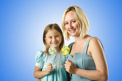 The mother with daughter isolated on white Stock Image