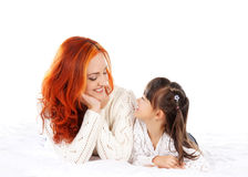 Mother and daughter isolated on white background Stock Photos