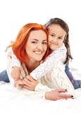 Mother and daughter isolated on white background Stock Image