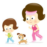 Mother and daughter jogging. Illustration of a mother and daughter jogging w/ their dog Royalty Free Stock Photo
