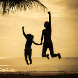 Mother and  daughter jumping Royalty Free Stock Photo