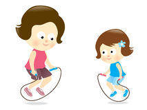 Mother and daughter jumping rope Royalty Free Stock Photo