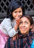 Mother and Daughter, Kathmandu, Nepal Stock Image