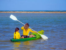 Mother and daughter in kayak Stock Photo