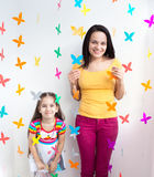 Mother and daughter kid child Stock Photo