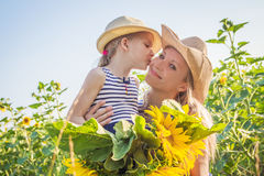 Mother and daughter kissing among sunflower field Stock Image