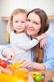 Mother and daughter at kitchen Stock Photography