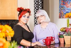 Mother and Daughter in Kitchen. Mother and daughter stand in kitchen Stock Image