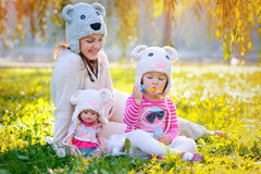 Mother and daughter in knitted hats Bears Royalty Free Stock Images