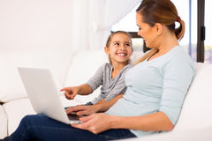 Mother daughter laptop Royalty Free Stock Photo