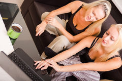 Mother and daughter with a laptop Royalty Free Stock Image