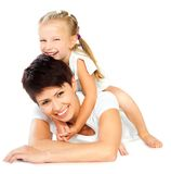 Mother and daughter laughing Stock Images