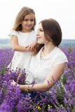 Mother with daughter in lavender field are holding Royalty Free Stock Photos