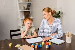 Mother and daughter learning math Royalty Free Stock Photo