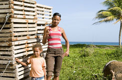 Mother daughter lobster trap Corn Island Nicaragua Stock Photo