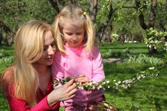 Mother and daughter look at blossoming branch stock photo