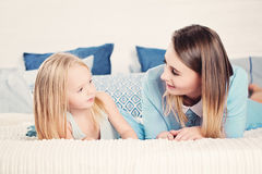 Mother and daughter  looking at each other Stock Image