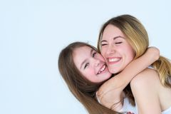 Mother daughter love family hug feelings express. Mother and daughter love. family hug and feelings expression royalty free stock photo