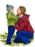 Mother and daughter love. Marker illustration stock illustration