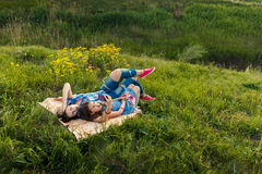Mother and daughter make selfy on the rug Royalty Free Stock Photography