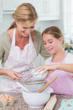 Mother and daughter making cake together Royalty Free Stock Images
