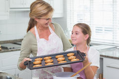 Mother and daughter making cookies together Royalty Free Stock Photography