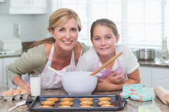 Mother and daughter making cookies together Stock Photography