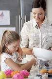 Mother And Daughter Making Cupcakes Royalty Free Stock Photo
