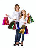 Mother and daughter with many box Royalty Free Stock Image