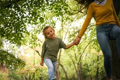 Mother an daughter in meadow. Royalty Free Stock Photo