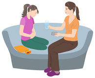 Mother and daughter at menarche. royalty free illustration