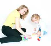 Mother and the daughter mold plasticine Royalty Free Stock Photo