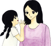 Mother and daughter cartoon stock illustration