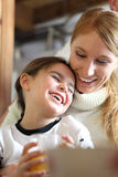 Mother and daughter in the morning Stock Photography