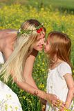 Mother and daughter on nature Stock Image