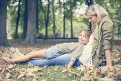 Mother and daughter in nature. royalty free stock photo