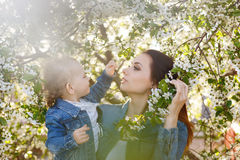Mother and daughter near a flowering tree Stock Images